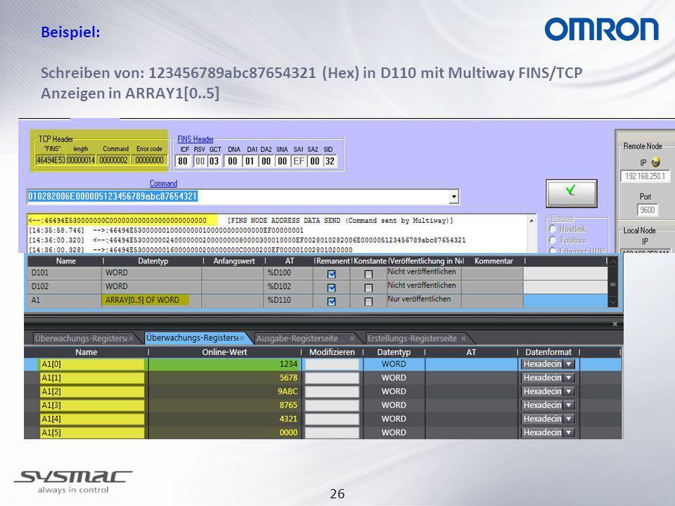 30.03.2017 Beispiel: Schreiben von: 123456789abc87654321 (Hex) in D110 mit Multiway FINS/TCP Anzeigen in ARRAY1[0..5]